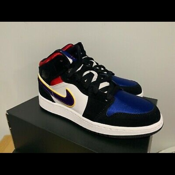 Jordan Shoes - Air Jordan 1 mid top 3 lakers satin toe